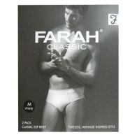 See more information about the 2 Pack Mens White Medium Farah Slip Briefs