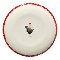 Red Chickens Dinner Plate