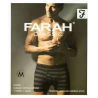 See more information about the 2 Pack Mens Black & Charcoal Medium Stripe Plain Farah Trunks