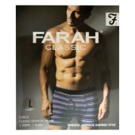 See more information about the 2 Pack Mens Purple Charcoal Large Stripe Plain Farah Trunks