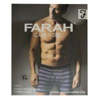 See more information about the 2 Pack Mens Purple Charcoal X Large Stripe Plain Farah Trunks