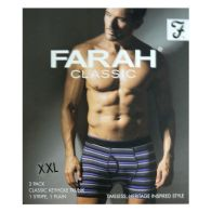 See more information about the 2 Pack Mens Purple Charcoal XX Large Stripe Plain Farah Trunks