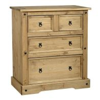See more information about the Corona Distressed Waxed Pine 4 Drawer Chest (2+2)