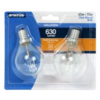 See more information about the Status 2 Pack Halogen Round Light Bulb 42 Watt 630 Lumen SES Clear