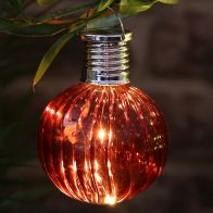Bright Garden Solar Glass Bulb Light - Red