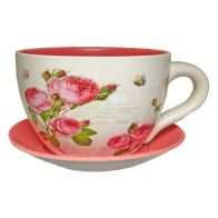 See more information about the Decorative Tea Cup Planter Pink Rose