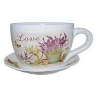 See more information about the Decorative Tea Cup Planter Lavender