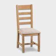 See more information about the Cotswold Oak Dining Ladder Back Chair Fabric Seat Furniture