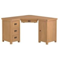 See more information about the Cotswold Corner Desk Oak 1 Door 4 Drawer