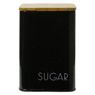 See more information about the Sugar Square Storage Jar With Bamboo Lid Black With White Text