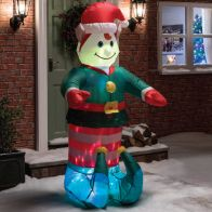 See more information about the 6 Foot Inflatable Elf Decorative Christmas Animated Light