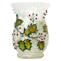 See more information about the 20cm Hurricane Candle Holder Holly Design