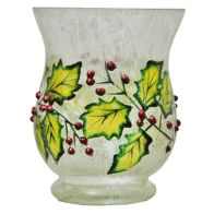 See more information about the 11cm Hurricane Candle Holder Holly Design