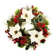 See more information about the Poinsettia Door Wreath Cream 50cm