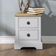 See more information about the Olivia Bedside Grey & Oak 2 Drawers