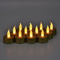 See more information about the 12 Pack of Gold Glitter LED Tealights
