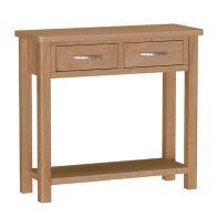 See more information about the Sienna Console Table Oak 1 Shelf 2 Drawer
