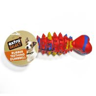 See more information about the Extra Select Rubber Teething Dumbell Dog Chew Toy Red