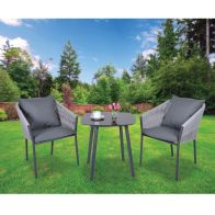 See more information about the Croft Grey Mobel 3 Piece Garden Bistro Set