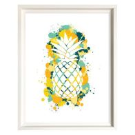 See more information about the Splatter Art Pineapple Framed Print Wall Art 16 x 12 Inch