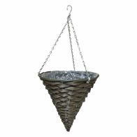 See more information about the 12 Inch Cone Shaped Hanging Rattan Basket Natural