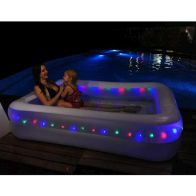 See more information about the Rectangular LED Lighted Family Paddling Pool 200 x 150 x 50cm