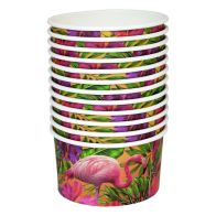 See more information about the Tropical Paper Bowls 9.5cm Pack 12 - Flamingo