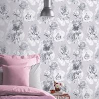 See more information about the Floral Bloom Silver Wallpaper