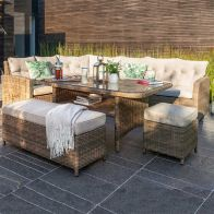 See more information about the Moreton Rattan Rectangle Garden Dining Set Brown