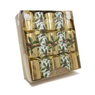 See more information about the 10 Deluxe Christmas Crackers 14 Inch - Gold With Holly