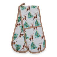 See more information about the Festive Stag Print Double Oven Glove