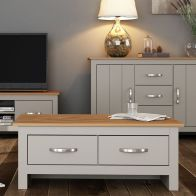 See more information about the Livingston Coffee Table Grey & Oak 2 Drawer