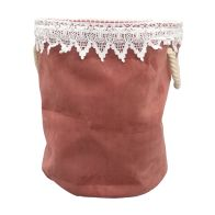See more information about the Bloom Laundry Bag Pink Velvet With Lace Trim