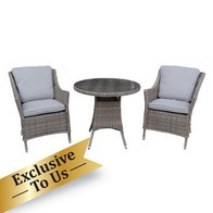 See more information about the Arles Bistro Outdoor Dining Set - Grey Rattan
