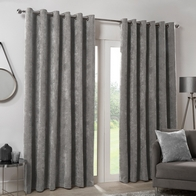 "See more information about the Hamilton McBride Silver Italian Velvet Blackout Eyelet Curtains (46"" x 54"")"