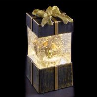 See more information about the LED White Animated Bronze Gift Box With Robins Ornament 17cm