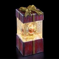 See more information about the LED White Animated Red Gift Box With Santa Ornament 17cm