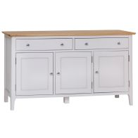See more information about the Necton Oak Dove Grey 3 Door 2 Drawer Sideboard