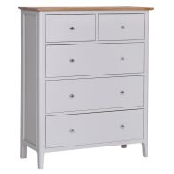 See more information about the Necton Oak Dove Grey 5 Drawer Large Chest