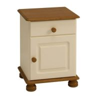 See more information about the 1 Drawer 1 Door Cream and Pine Traditional Table Cabinet