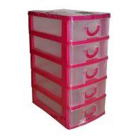2L Handy Home 5 Drawer Plastic Storage Tower Pink