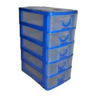 Premier 2L Handy Home 5 Drawer Plastic Storage Tower Blue