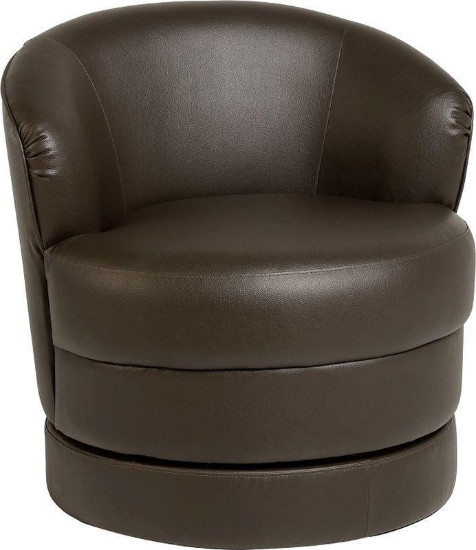 Buy oscar leather swivel tub chair expresson brown for Leather swivel tub chair