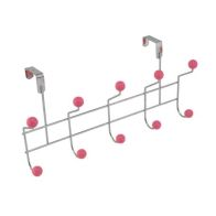 5 Hooks with Polyresin Ball - Pink