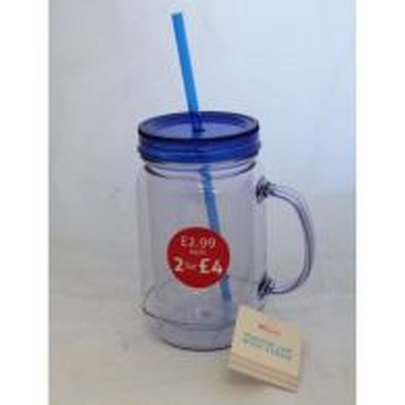 See more information about the Mason Jar With Handle and Straw - Blue