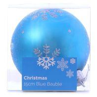Festive Christmas Decoration Plastic Ball - Blue (15 cm) - Snowflake