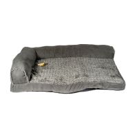 See more information about the Faux Suede Fur Corner Pet Bed 34x22x8 Grey