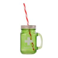 See more information about the Green Glass Mason Jar with Handle, Lid & Straw