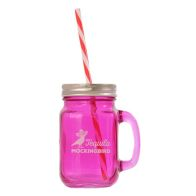 See more information about the Purple Glass Mason Jar with Handle, Lid & Straw