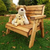 See more information about the Little Fellas 2 Seat Redwood Kids Traditional Garden Bench